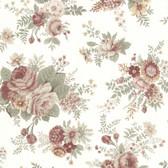 302-66854 La Belle Maison Rosa Floral Medley Rose-Tangerine Wallpaper
