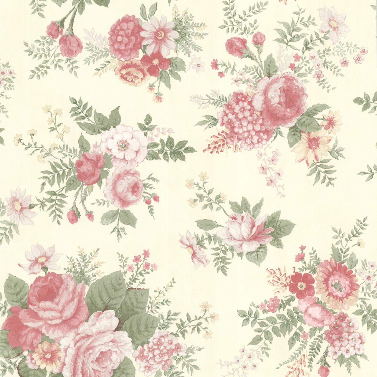 La Belle Maison Rosa Floral Medley Coral Rose Wallpaper 302 66855
