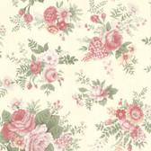 302-66855 La Belle Maison Rosa Floral Medley Coral-Rose Wallpaper