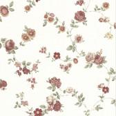 302-66858 La Belle Maison Rosetta Floral Trail Burgundy-Orange Wallpaper