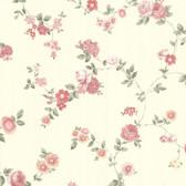 302-66859 La Belle Maison Rosetta Floral Trail Coral-Blush Wallpaper