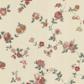 302-66860 La Belle Maison Rosetta Floral Trail Rosewood-Peach Wallpaper
