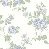 302-66878 La Belle Maison Bloom Floral Trail Blue Wallpaper