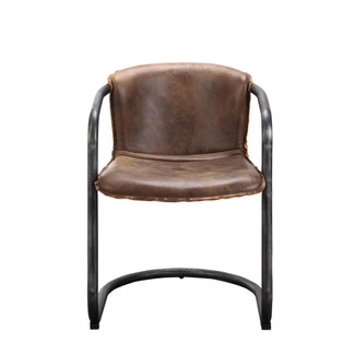 Top Grain Brown Leather Dining Chair