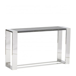 Dark Oak with Stainless Steel Console Table