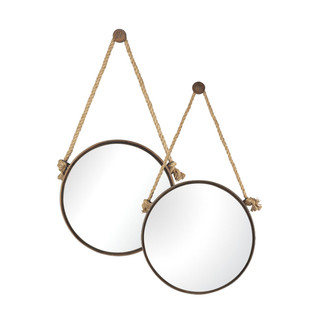 Rustic Round Iron Mirrors on Rope Set