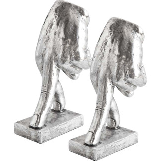 Cerrenum Hands Bookends- Silver
