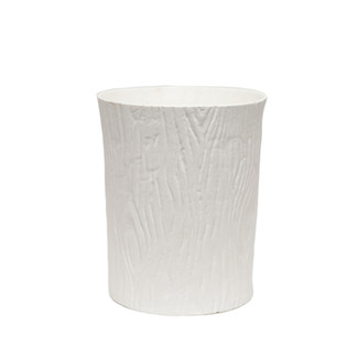 White Wood Grain Porcelain Waste Basket