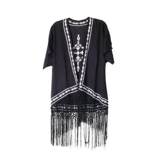 BLACK/WHITE Embroidered Kimono w//Fringes