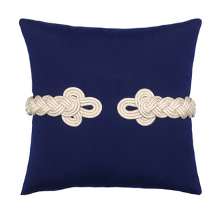 Rope Detail Throw Pillow with Frog's Clasp