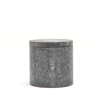Faux Shagreen Canister w/Wood Veneer