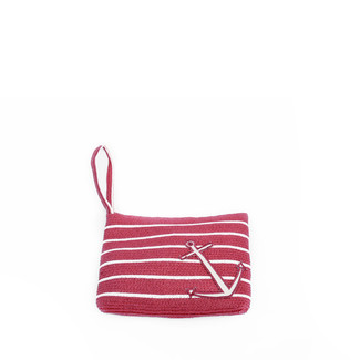 Red and Ivory Stripe Anchor Wristlet