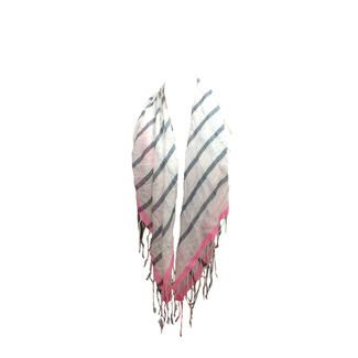Silver & Pink Striped Scarf