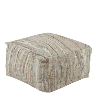 WOVEN LEATHER EARTH COLORED FLOOR PILLOW