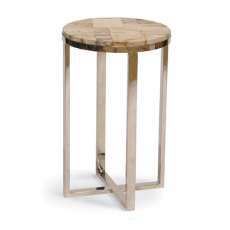 Petrified Wood and Stainless Steel Drink Table