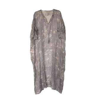 Grey and Pink Long Kaftan