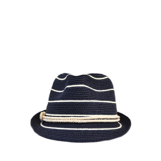 Navy and Ivory Nautical Stripe Rope Fedora