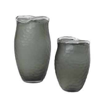 Chiseled Grey Glass Vases Set
