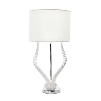 White Resin Faux Horn Table Lamp