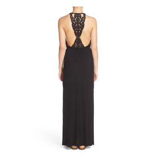 BLACK OPEN CROCHET PATCH BACK MAXI DRESS