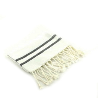 BLACK STRIPED WHITE FOUTA GUEST TOWEL