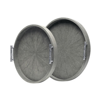 Doris Round Faux Shagreen Trays- Set of 2