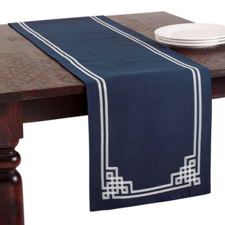 Stitched Greek Key Design Runner