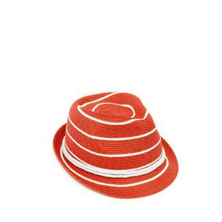 Red and Ivory Nautical Stripe Knot Trim Fedora