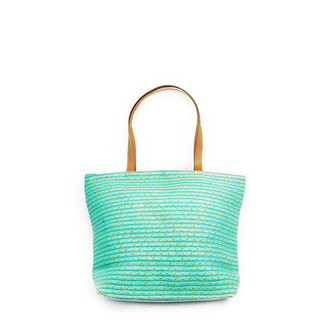 Turquoise Woven Tote Handbag with Natural Handle