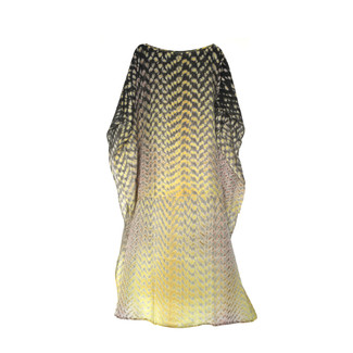 Silk Shibbori Kaftan Grey/Yellow