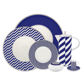 Cobalt Blue and Bright White Dinner Set - 66 Pieces