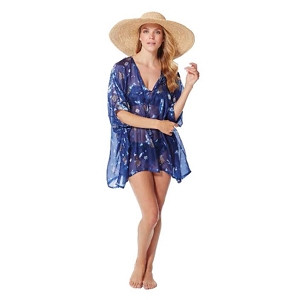 Silk Tabby Short Kaftan Midnight Blue