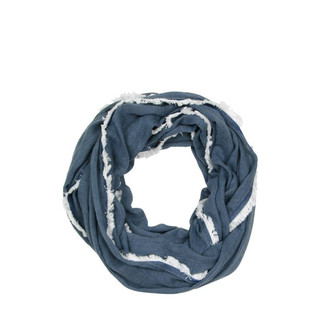 Navy Denim Trim Infinity Scarf