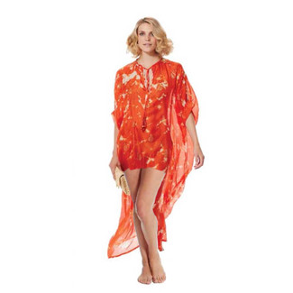 Silk Orange and Gold Short Kaftan
