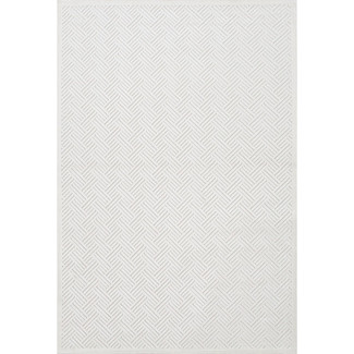 Geometric White Chenille Area Rug