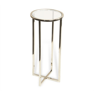 Glass and Steel Round Drink Table
