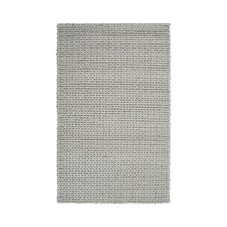 Luxurious Taupe Cable Knit Wool Shag Rug