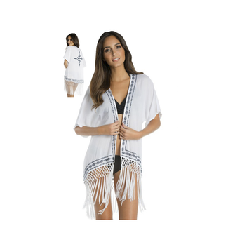 White and Navy Kimono with Fringes