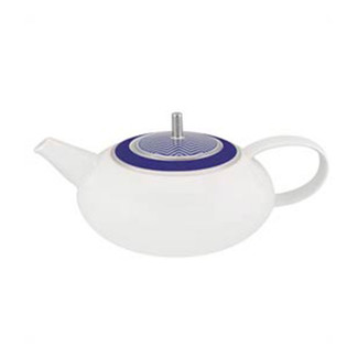 Cobalt Blue and White Tea Pot