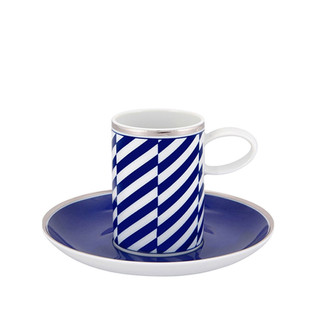 Cobalt Blue and White Coffee Cup & Saucer