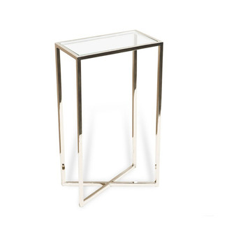 Glass and Steel Rectangular Drink Table