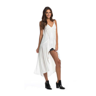 Spag Strap DRESS Open Front WHITE