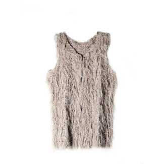 TAUPE Sweater Vest Shaggy Cardigan