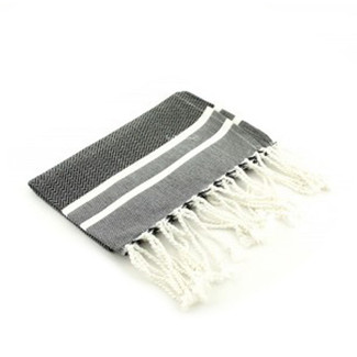 Black & White Herringbone Fouta Guest Towel