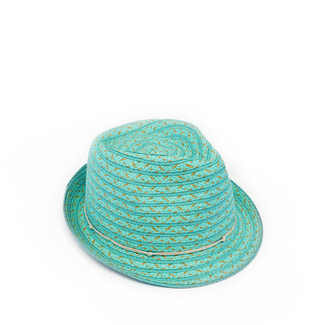 Turquoise Woven Fedora with Natural Trim