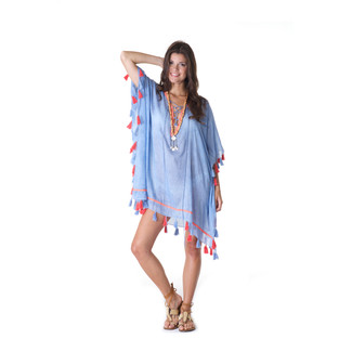 Blue Cover Up with Tassel Detail