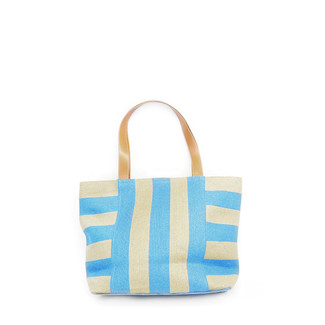 Periwinkle/Toast Wide Stripes Tote