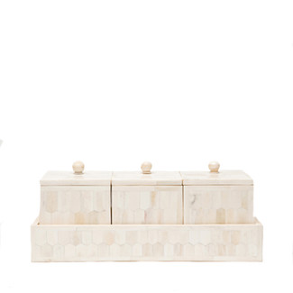 Camel Bone Boxes with Tray - Set of 3
