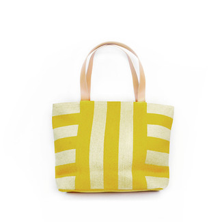 Yellow/Natural Wide Striped Tote