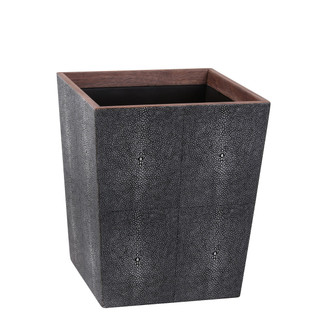 Ash Faux Shagreen Rectangular Waste Basket